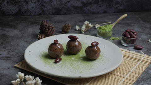 Healthy organic date energy balls with green tea, red bean, dried fruits and Footage
