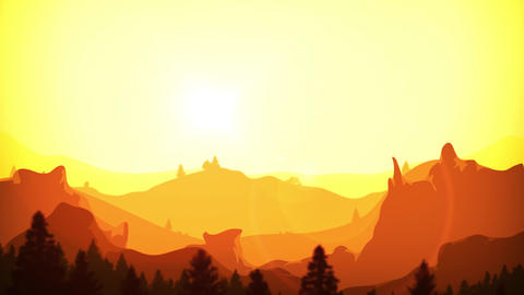 Summer Mountains Sunrise Background Clip Animation