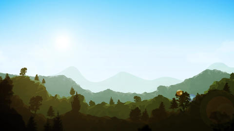Summer Mountains Landscape background Clip Animation