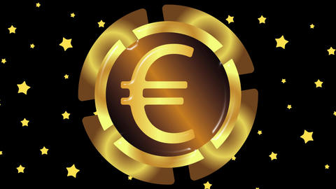 Gold euro and stars Animation