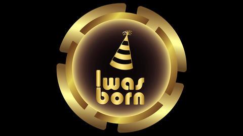 Was born gold icon on dark Animation