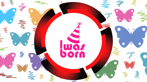 Was born red icon and butterfly Animation