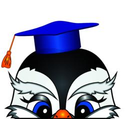 The head of a cartoon bird in an academic cap Vector