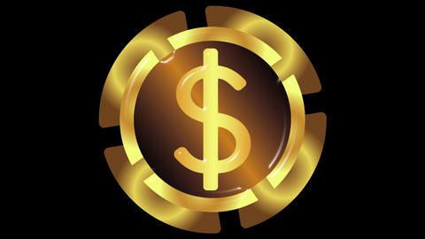 Gold icon dollar on black back Animation