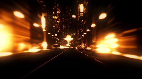 3D Orange City Night Lights VJ Loop Motion Graphic Background Animation