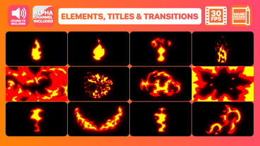 Fire Elements Titles And Transitions Motion Graphics Template
