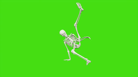 Skeleton dancing. Seamless loop animation on green screen Animación