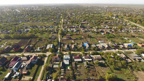 Top view of the village. The village of Poltavskaya Footage