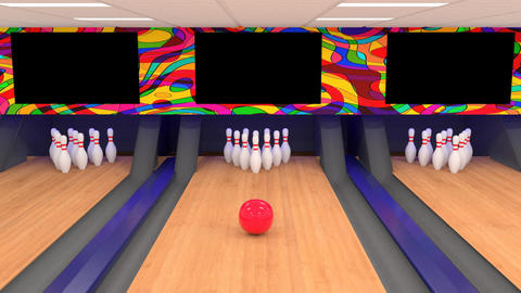 Ten Pin Bowling Alley Strike Animation