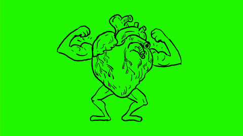 Super Heart Flexing Muscle Drawing 2D Animation Animación