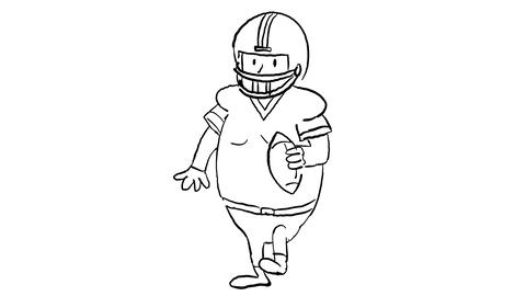American Football Player Dancing Drawing 2D Animation Stock Video Footage