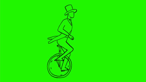 Circus Performer Riding Unicycle Drawing 2D Animation Animation