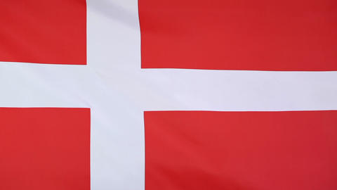 Textile flag of Denmark in slow motion Footage