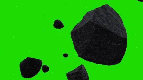 Asteroids Hovering in Space on a Green Screen Background Footage