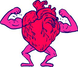 Healthy Heart Flexing Muscle Drawing Vector