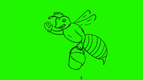 Honey Bee Waving With Pail of Honey Drawing 2D Animation Animation