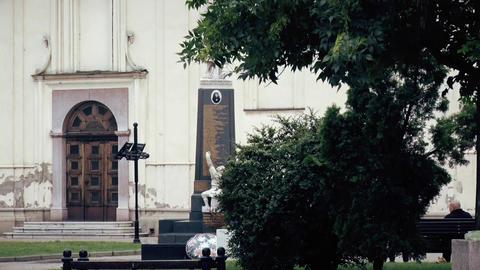 Front door to the Orthodox temple, Monument next door Footage