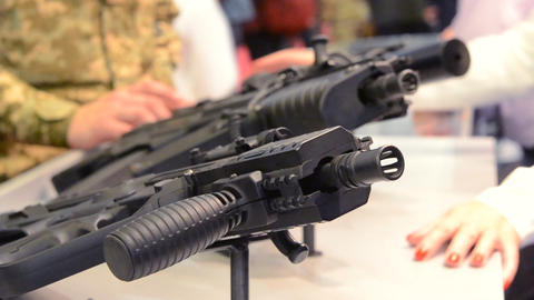 Firearms gun submachine sniper rifle close-up, Live Action