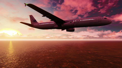 Passenger Plane flying over the Pacific ocean at sunrise Animation
