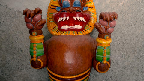 Tibetan deity statue in the Reinhold Messner museum in Brunico Footage