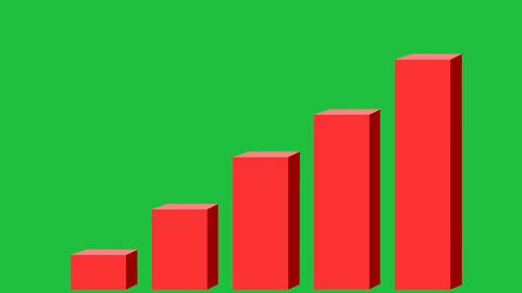 Red Bar Graph (Green Screen): Loop + Matte Animation