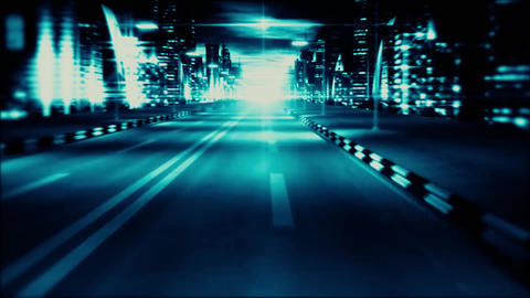 3D Blue Night City Road VJ Loop Motion Graphic Background Animation