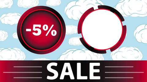 Red sale 5 percent and clouds Animation