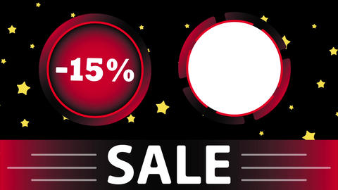 Red sale 15 percent and star Animation