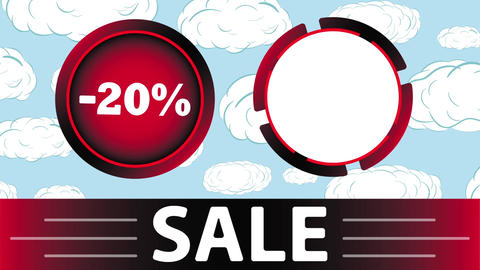 Red sale 20 percent and clouds Animation