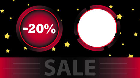 Red sale 20 percent and star Stock Video Footage