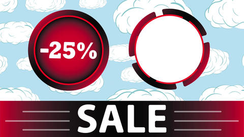 Red sale 25 percent and clouds Animation