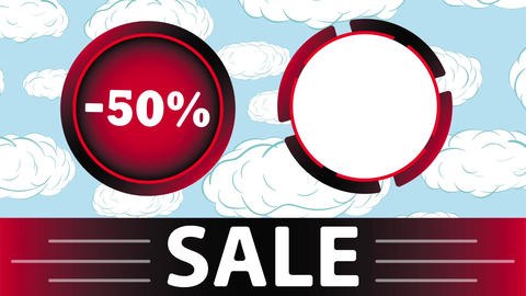 Red sale 50 percent and clouds Animation