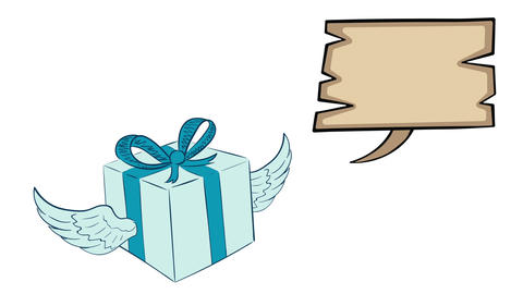 Winged blue gift and dream clouds Animation