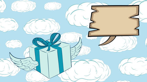 Winged gift and dream clouds Animation