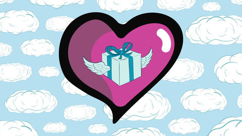 Winged gift in heart and clouds Animation