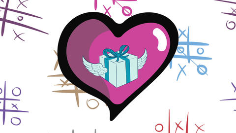 Winged gift in heart and tic-tac-toe 애니메이션