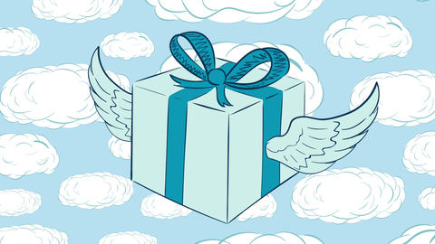 Winged gift in icon and clouds Animación