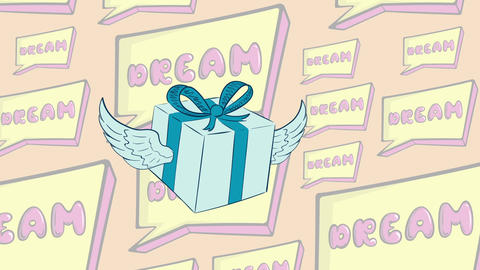 Winged gift in icon and dream Animation