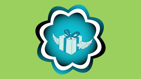 Winged gift in icon on green Animation