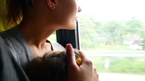 Traveling mother and daughter in mini bus. Transportation…, Live Action