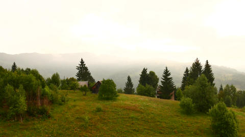 Foggy morning landscape at Carpathian mountains. Ukraine destinations and nature Footage