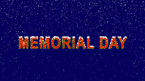 New Year text celebration MEMORIAL DAY. Snow falls. Christmas mood, looped Animation