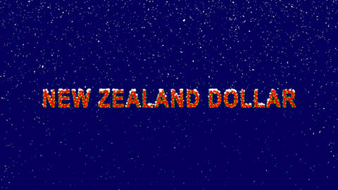 New Year text Currency name NEW ZEALAND DOLLAR. Snow falls. Christmas mood, Animation