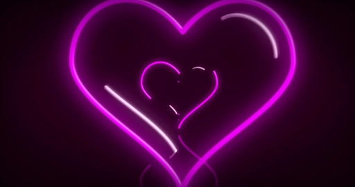 Heart neon lights love 3D fly animation CG動画素材