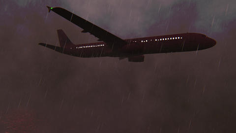 Passenger Plane flying over the Pacific ocean at storm Animation