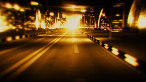 3D Gold Night City Road VJ Loop Motion Graphic Background Animation