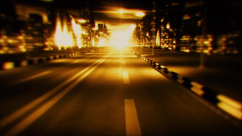 [alt video] 3D Gold Night City Road VJ Loop Motion Graphic Background