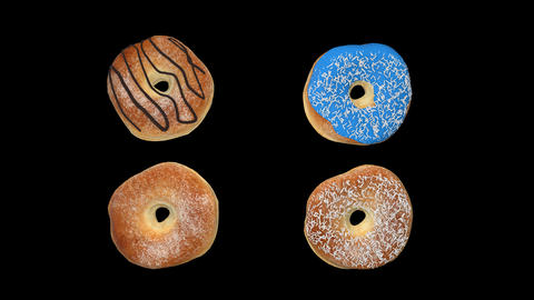 Different donuts with alpha chanel Animation