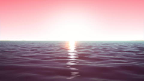 4k Ocean Background In Morning Sky Animation