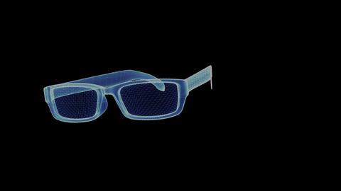 Hologram sunglasses. 3D animation of eyeglasses Live Action